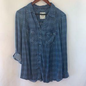 Style & Co Top Chambray Denim Shirt Plaid Roll Tab